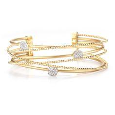 Multi-Row Diamond Bead Cuff by  I. Reiss