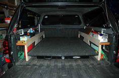 Roll out bed for pick up truck Truck Bed Slide, Truck Bed Tent, Truck Bed Camping, Truck Shells, Truck Camper Shells, Truck Bed Tool Boxes, Truck Bed Storage, Roll Out Bed, Truck Toppers