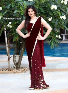 Zarine Khan in Maroon Sari at Wedding Lounge 2013 announcement