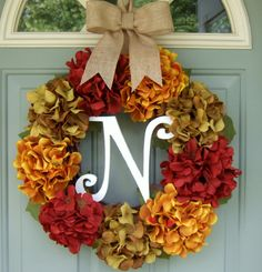 Fall Wreath Fall Hydrangea Wreath Fall Hydrangea by countryprim, $69.00