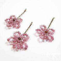 Beaded Flower Bobby Pins - Girls Hair Pins - Blush Pink Beaded Bobby Pins - Kids Hair Accessory - Flower Hair Pins