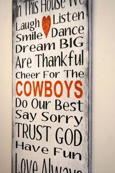 Family Rules Sign Sports Team Sign Oklahoma State Cowboys OSU Distressed Wood Sign Rustic Sign Shabby Chic Cottage Chic White and Orange