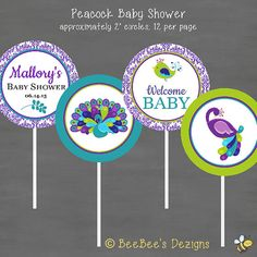 Peacock Baby Shower Cupcake Toppers--Custom Printable  Looking for cupcake toppers for your baby shower?!? You've come to the right place! Make