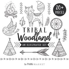 Hand Drawn Tribal Woodland Clip Art, Tribal Animal Clip Art, Woodland Clip Art, Tribal Fox, Tribal Owl, Woodland Tribal Animals Clipart by LePetiteMarket on Etsy https://www.etsy.com/listing/489648852/hand-drawn-tribal-woodland-clip-art