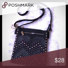 Black Studded fashion adjustable bag Brand new. You can adjust the length for the shoulder or to make crossbody.  Studded. Also available in White. Let me know if you are interested Bags