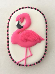 Flamingo on oval cookie | by sarah godlove