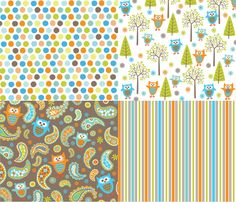 What The Hoot fabric by bzbdesigner for sale on Spoonflower - custom fabric, wallpaper and wall decals