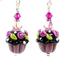 Cupcake Lampwork Earrings.