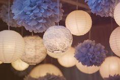 White Paper Lanterns and Pansy Paper Pom Poms by Party Lanterns White Paper Lanterns, Hanging Paper Lanterns, Lace Lantern, Paper Pom Poms, Tissue Paper, Wedding Reception Decorations, Wedding Lanterns, Wedding Ideas, Trendy Wedding