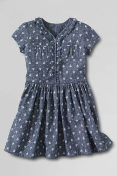 Girls'+Short+Sleeve+Pattern+Chambray+Ruffle+Front+Pocket+Dress+from+Lands'+End
