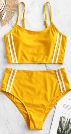 Striped Panel Cami High Cut Tankini Swimsuit Style: Fashion Swimwear Type: Tankini Gender: For Women Material: Nylon,Spandex Bra Style: Padded Support Type: Wire Free Collar-line: Spaghetti Straps Pattern Type: Striped Decoration: High Cut Bathing Suits For Teens, Summer Bathing Suits, Swimsuits For Teens, Tankini Swimsuits For Women, Cute Bathing Suits, Cute Swimsuits, Yellow Bathing Suit, Bikini Outfits, Swimwear Fashion