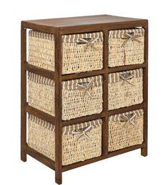 ts-ideen - Armario de suelo para baño (con 6 cestos), diseño vintage, color marrón: Amazon.es: Hogar