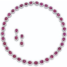PINK SAPPHIRE AND DIAMOND NECKLACE AND PAIR OF PENDENT EARRINGS