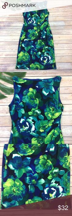 Lauren Ralph Lauren blue green floral dress Lauren Ralph Lauren green and blue floral dress, size 8. It is free from any rips or stains. It measures about 37 inches around the bust, about 31 inches around the waist and is about 40 inches long. Lauren Ralph Lauren Dresses