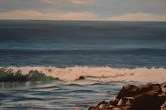 Seascape commissioned painting - close up of the wave - acrylic on canvas by Sam Lyle
