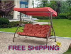 Porch Swing Glider Mainstays Ashwood Cushion 3 Seat Outdoor Adjustable  Canopy