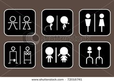 Fun signs for a bathroom. Maybe make the cute one for the kids bathroom door