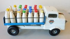 Vintage Old 1960 s Triang Tin Plate Push Along Dairy Milk Float Truck