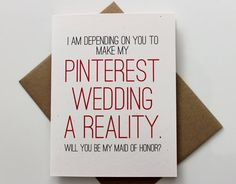 Funny Will you Be My Maid of Honor Card MOH by PattersonPaper