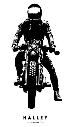 Rider by Halley Accessories Scrambler, Cafe Racer, Vintage Bike, Art, Illustration
