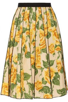 Marc Jacobs Pleated floral-print poplin skirt | THE OUTNET