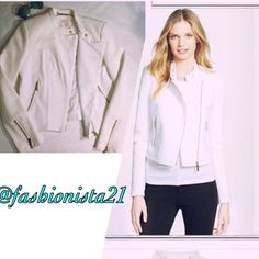 """NWT Michael Kors White Moto Jacket 6 Gorgeous NWT Michael Kors Tweed and plain cotton Moto jacket. Has a nice rich look about it. Fully lined. Gold tone embellishments. Zip fastening. Single breasted. Long -sleeved. 100% Cotton.  Originally 225$ plus tax. 🎉HP x2.  New with tags Exquisite.  17"""" across under arm to under arm flat lay. Approximately 19.5"""" at lowest shoulder top to front bottom . shoulder top by collar is 21"""".  HPx2 @RUNWAYPOSH and @LARKSANDLACE  @fashionista21 PLEASE SEE…"""