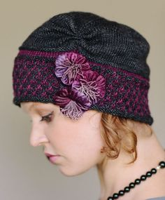 Knitting Pattern for Maisie Cloche - Thisruched, color work cloche was inspired by one of my favorite heroinesMaisie Dobbs from the mystery series created by Jacqueline Winspear. 3 sizes. Sport weight yarn. Designed by Julie Turjoman.