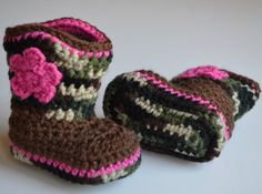 Crochet Camo Baby Cowboy Boots, Baby Infant Shoes, Crochet Baby Booties, Photo Prop, Baby Girl on Etsy, $25.00