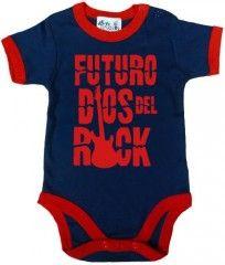 Dirty Fingers, Futuro Dios del Rock, Bebés Body con borde, azul marino con rojo, 3-6 meses