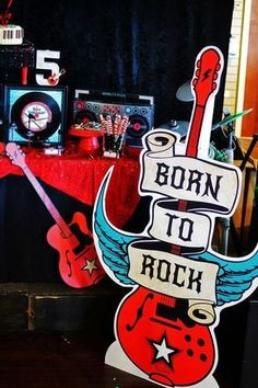 decor at a Rockstar birthday party! See more party ideas at !Fun decor at a Rockstar birthday party! See more party ideas at ! Music Theme Birthday, Music Themed Parties, Music Party, 1st Birthday Parties, Birthday Ideas, Tea Parties, Rockstar Party, Rockstar Birthday, Lollipop Party