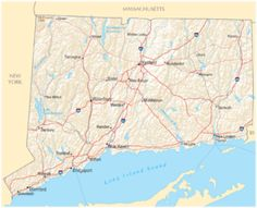 Map of Connecticut showing major highways.