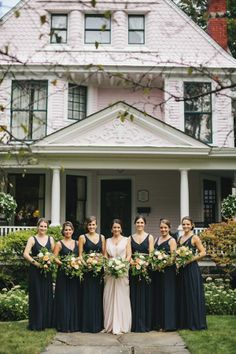 Love this garden theme. The navy blue bridesmaids dresses are gorgeous!