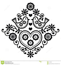 Embroidery Pattern from Folk Art Floral Black Pattern With Birds Stock Illustrations. @dreamstime.com. jwt