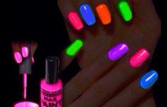 Put a broken glow stick in nail Polish