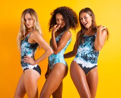 Stunning all-over print customised swimwear. Designed with a scoop neckline and low-cut scoop back. Individually printed, hand cut and sewn to order. From by possib. Swimsuits, Swimwear, Delivery, Neckline, Ocean, One Piece, Turquoise, Printed, Design