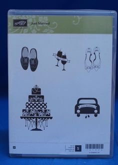 Stampin' Up! Just Married  Cake Shoes Mr & Mrs Champagne  Set of 5 Stamps NIB #StampinUp