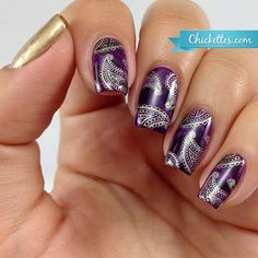 Plum Paisley Stamped Nails and Liquid Palisade for Easy Nail Art ...