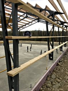 Happy Mother's day! And here is another update in Alaska! This family is making memories building their new cabin on their homestead! Steel Trusses, Steel Columns, Metal Building Kits, Steel Frame House, Tent Lighting, Pole Barns, Steel Buildings, Barndominium, Making Memories