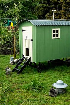 Traveling shepherd's hut converted to Hen house
