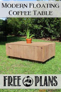 Free Modern Floating Coffee Table - Free DIY Plans | http://rogueengineer.com/ #DIYFurniturePlan  #CoffeeTable