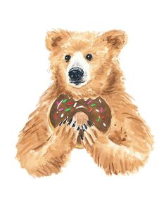 Bear Watercolor 8x10 PRINT Bear With Donut by WaterInMyPaint