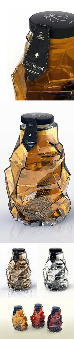 "Honey packaging designed by Tamara Mihajlovic (pretty cool, but I keep thinking  - ""How the heck do you get the last of the honey out of all those creases?"")"