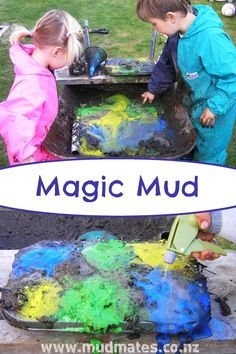 Mud is the name of the game when playing with our colourful, bubbling, erupting magic mud! Slip on a pair of NZ-made Mud Mates and let the messy play begin! Magic Mud, Holiday Club, Messy Play, Sensory Play, Craft Activities, Games For Kids, Crafts For Kids, Bubbles, Europe
