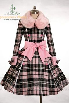 1950's pink & black plaid coat with pink fur colloar and large pink bow sash and cuffs