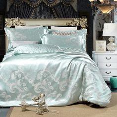 Gray flowers High Quality Silk Tencel satin Jacquard Bed linen Bedding set