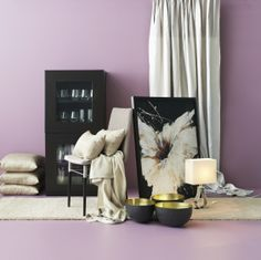 2014 Pantone Color of the Year - Radiant Orchid - Try this at home! Mix this vibrant hue with creams and rich browns for a lively but sophisticated look. Wall Colors, House Colors, Living Room Furniture, Home Furniture, Ikea Home, Affordable Furniture, Home Decor Inspiration, Home Furnishings, Pastel