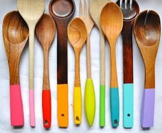 Color+dipped+wood+spoons