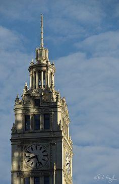 Wrigley Building Clock Tower, 8:27am - Chicago