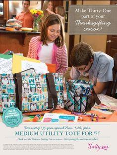 November Special! Spend $35 & get a medium utility tote for $7. www.mythirtyone.com/223426/