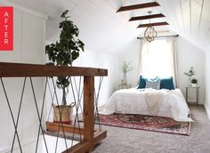 Before & After: An Amazing Attic Bedroom Transformation. Removed drop ceiling to expose beams.